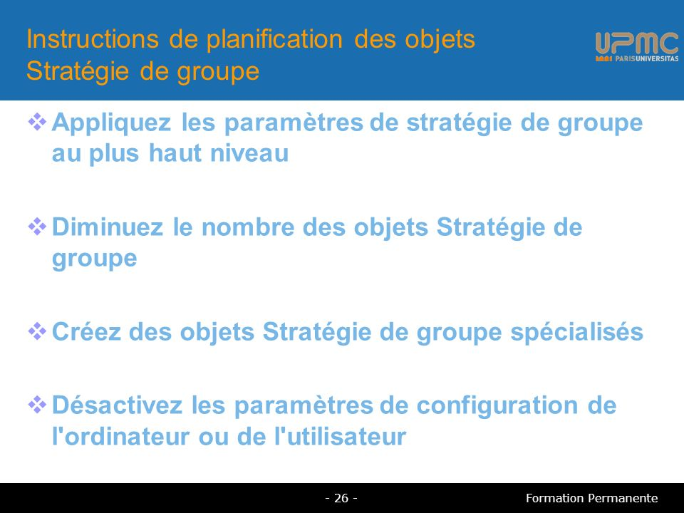 Instructions de planification des objets Stratégie de groupe
