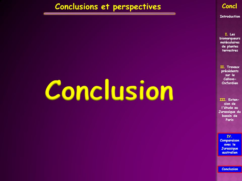 Conclusion Conclusions et perspectives Concl Introduction