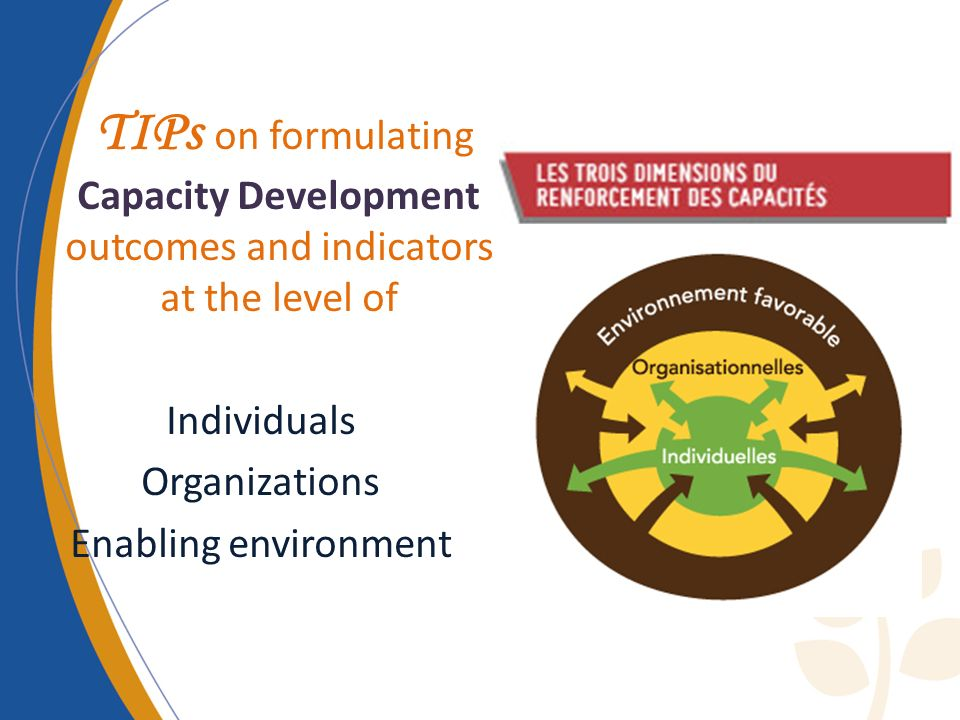 TIPs on formulating Capacity Development outcomes and indicators at the level of Individuals Organizations Enabling environment