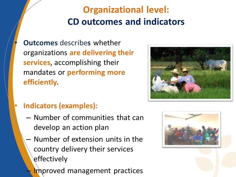 Organizational level: CD outcomes and indicators