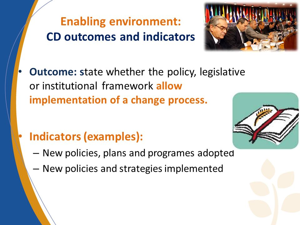 Enabling environment: CD outcomes and indicators