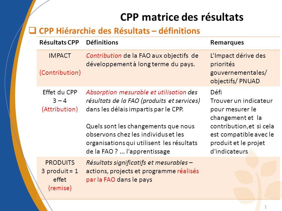 CPP matrice des résultats