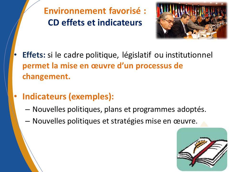 Environnement favorisé : CD effets et indicateurs