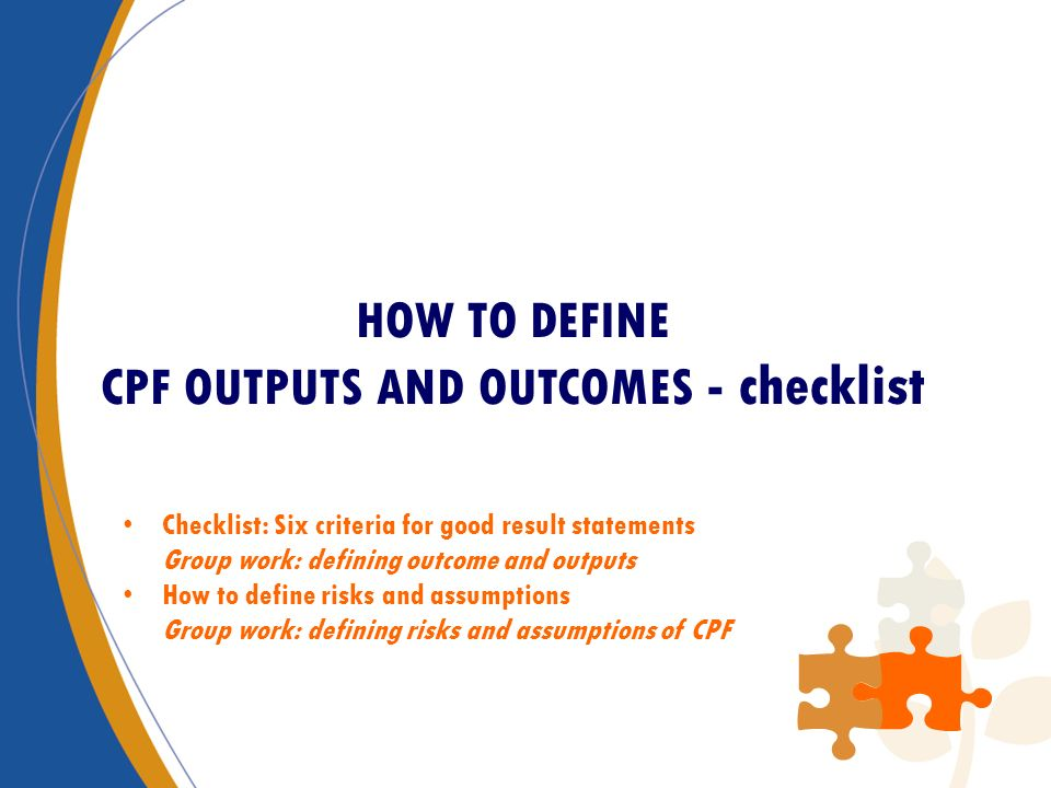 HOW TO DEFINE CPF OUTPUTS AND OUTCOMES - checklist