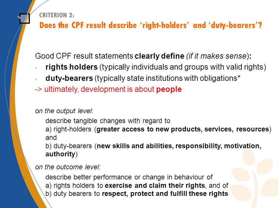 Does the CPF result describe 'right-holders' and 'duty-bearers'