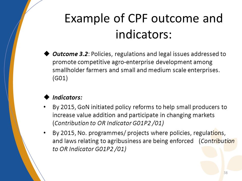 Example of CPF outcome and indicators: