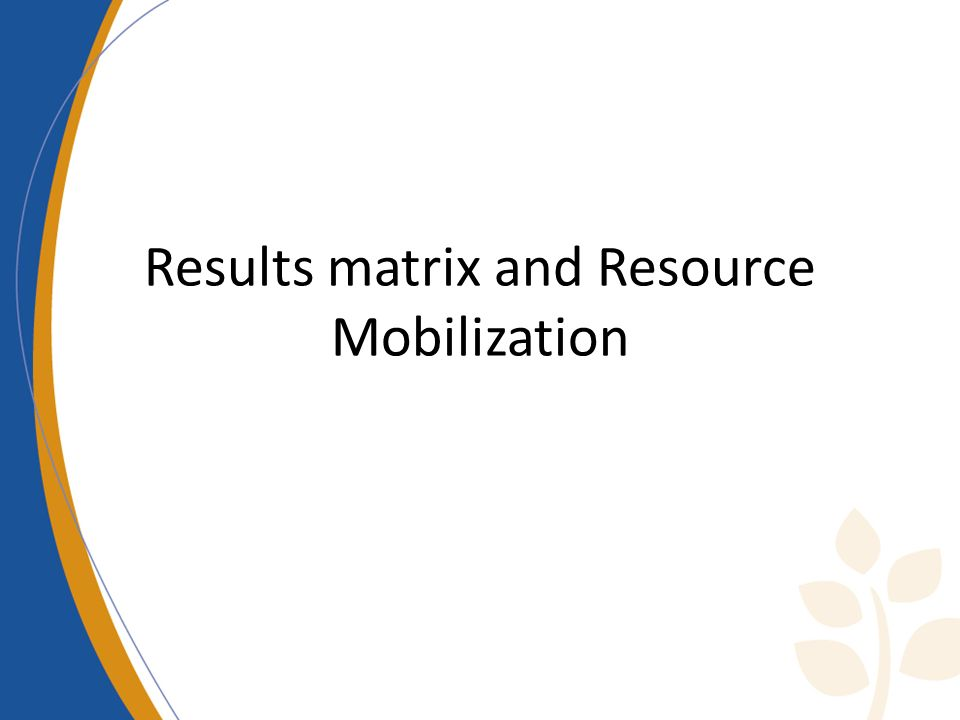 Results matrix and Resource Mobilization
