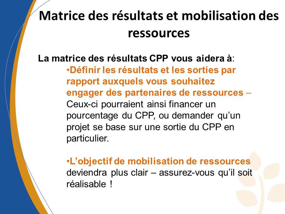Matrice des résultats et mobilisation des ressources