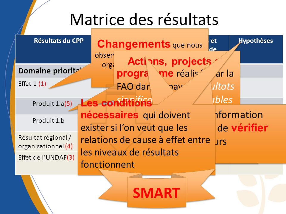 Matrice des résultats SMART