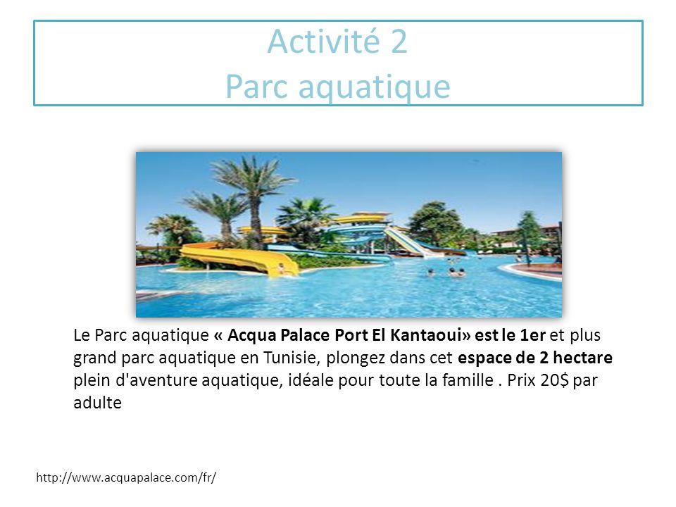 Activité 2 Parc aquatique