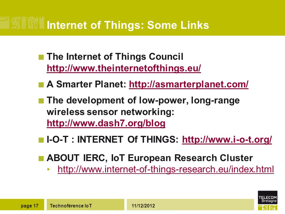 Internet of Things: Some Links