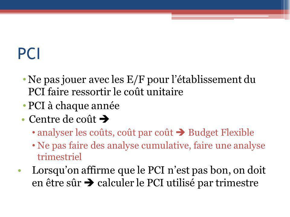 PCI Ne pas jouer avec les E/F pour l'établissement du PCI faire ressortir le coût unitaire. PCI à chaque année.