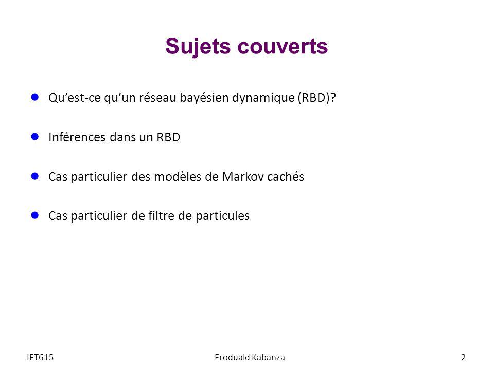 Sujets couverts Qu'est-ce qu'un réseau bayésien dynamique (RBD)