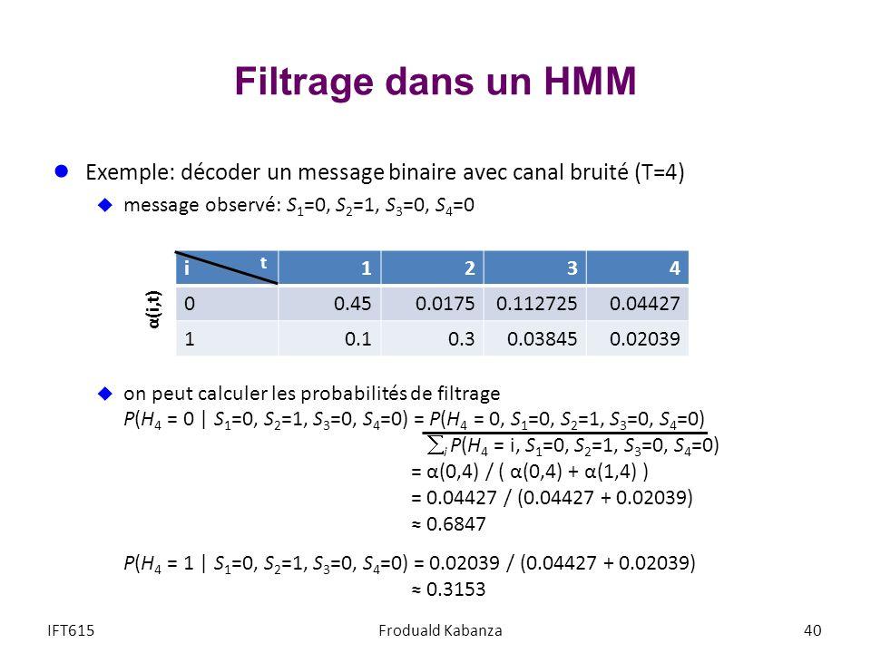 Filtrage dans un HMM Exemple: décoder un message binaire avec canal bruité (T=4) message observé: S1=0, S2=1, S3=0, S4=0.