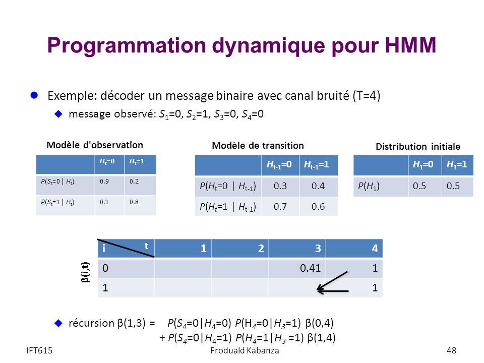 Programmation dynamique pour HMM
