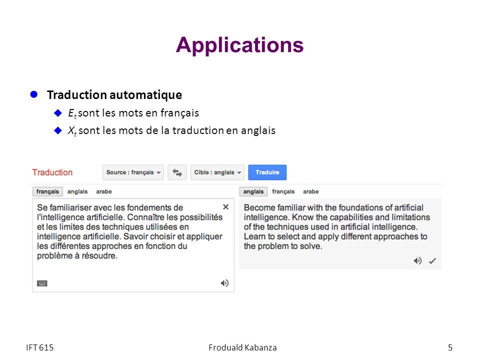 Applications Traduction automatique Et sont les mots en français