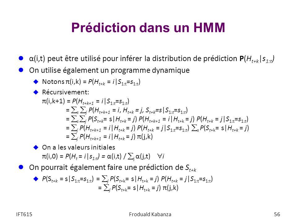 Prédiction dans un HMM α(i,t) peut être utilisé pour inférer la distribution de prédiction P(Ht+k|s1:t)
