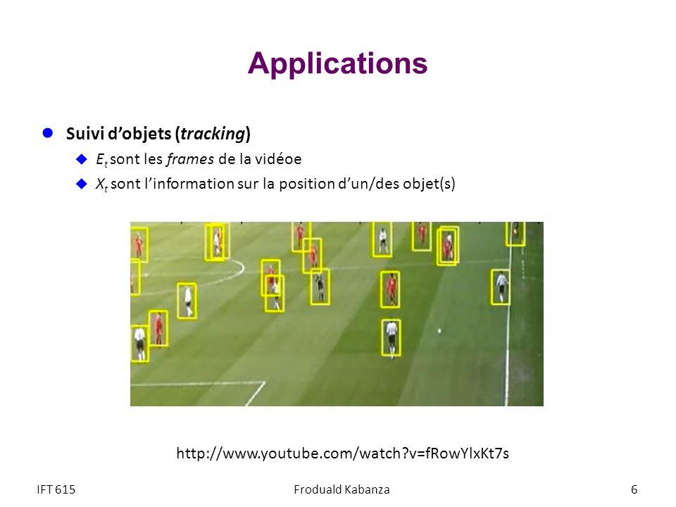Applications Suivi d'objets (tracking) Et sont les frames de la vidéoe