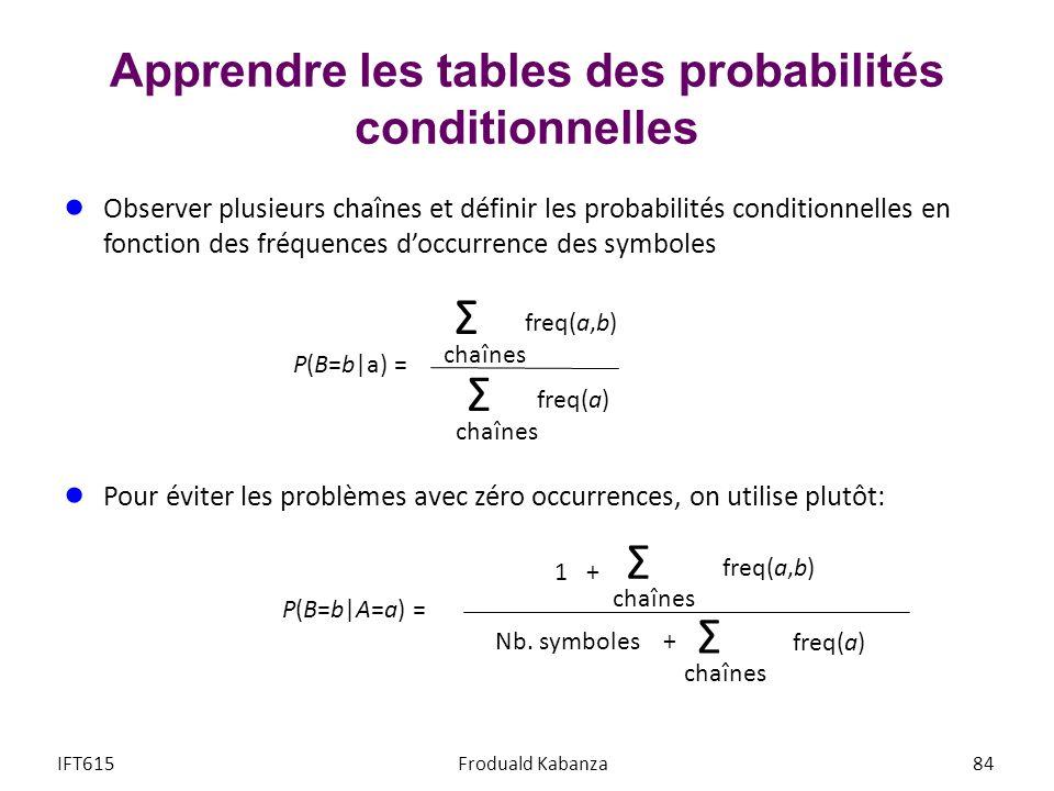 Apprendre les tables des probabilités conditionnelles