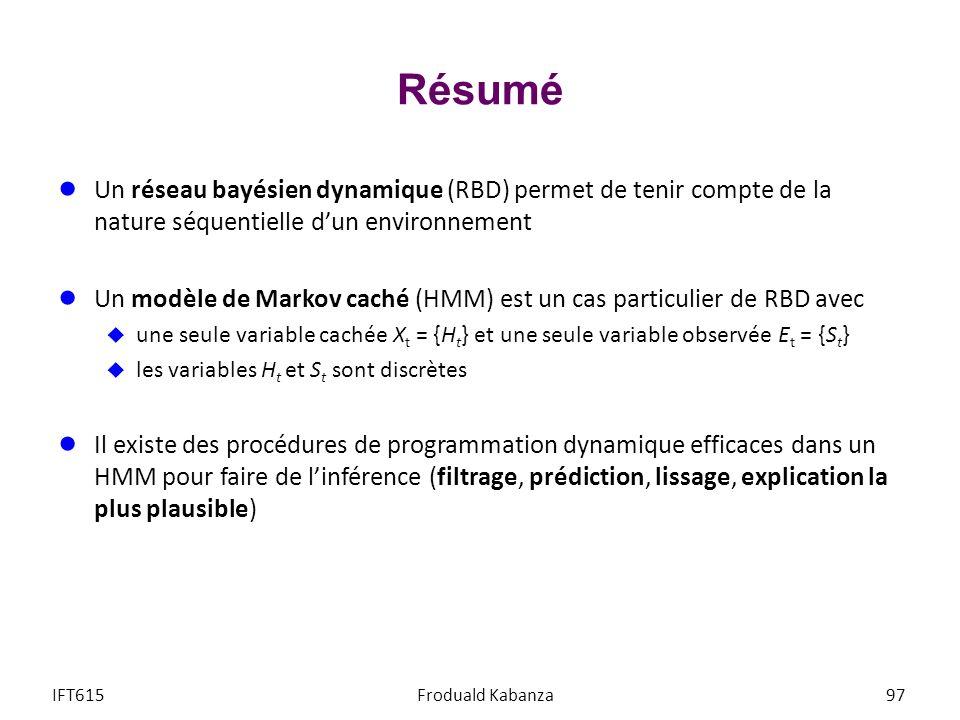 Résumé Un réseau bayésien dynamique (RBD) permet de tenir compte de la nature séquentielle d'un environnement.