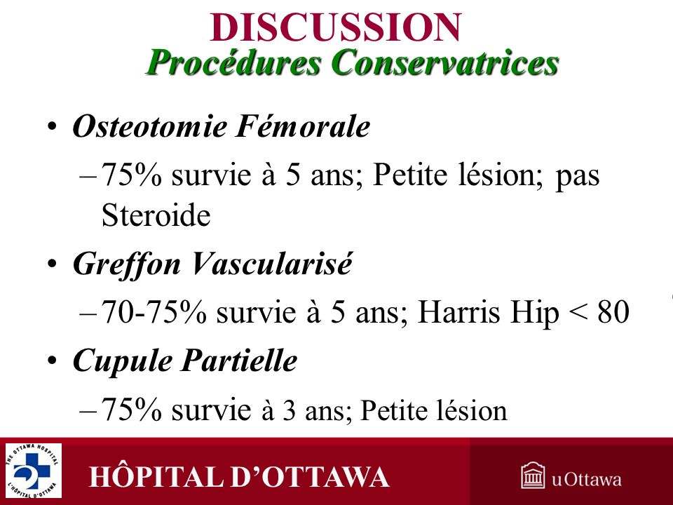 DISCUSSION Procédures Conservatrices Osteotomie Fémorale