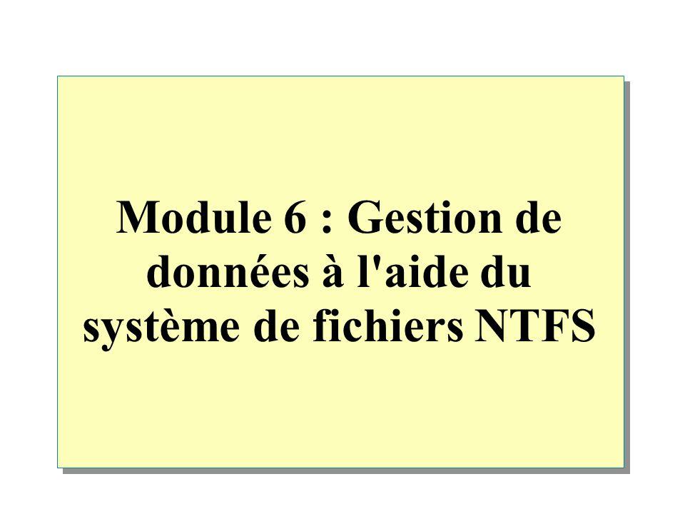 Module 6 : Gestion de données à l aide du système de fichiers NTFS