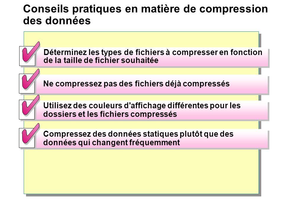 Conseils pratiques en matière de compression des données