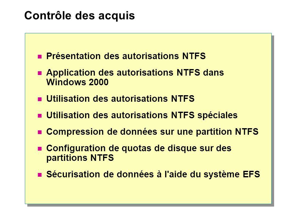 Contrôle des acquis Présentation des autorisations NTFS
