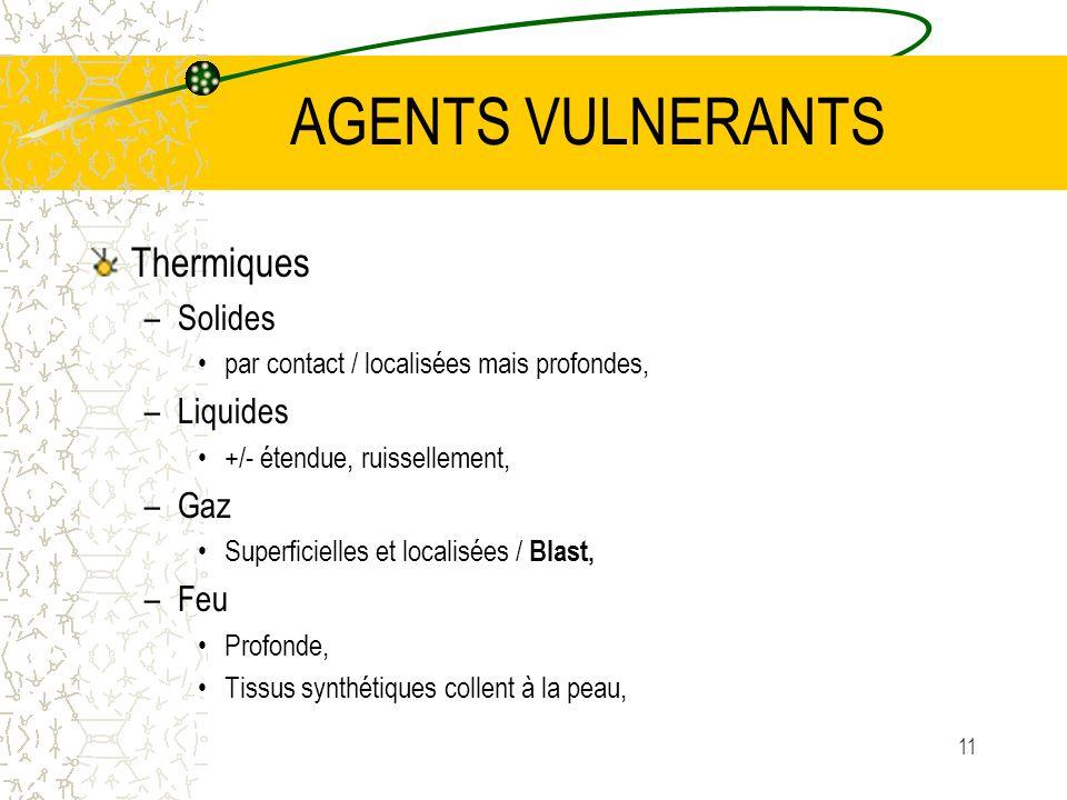 AGENTS VULNERANTS Thermiques Solides Liquides Gaz Feu