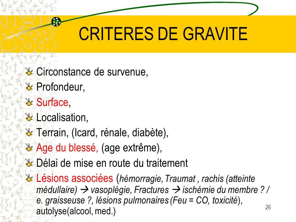 CRITERES DE GRAVITE Circonstance de survenue, Profondeur, Surface,