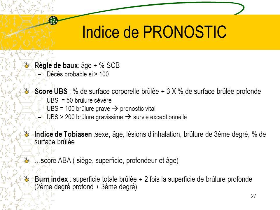 Indice de PRONOSTIC Règle de baux: âge + % SCB