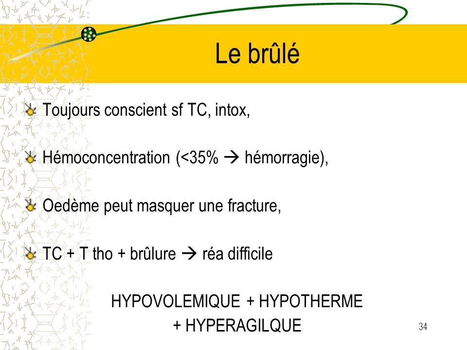 HYPOVOLEMIQUE + HYPOTHERME