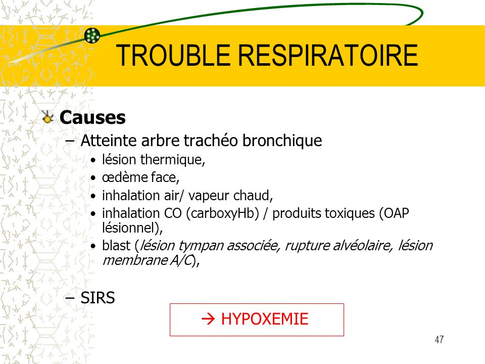 TROUBLE RESPIRATOIRE Causes Atteinte arbre trachéo bronchique SIRS