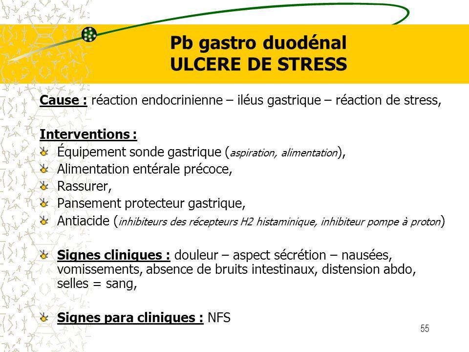 Pb gastro duodénal ULCERE DE STRESS