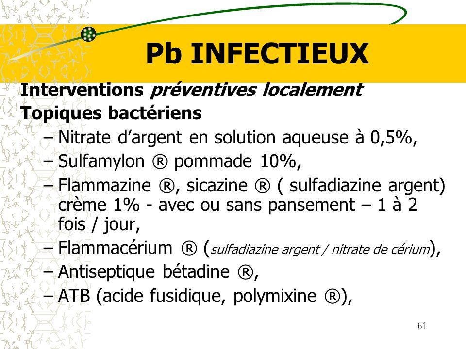 Pb INFECTIEUX Interventions préventives localement Topiques bactériens