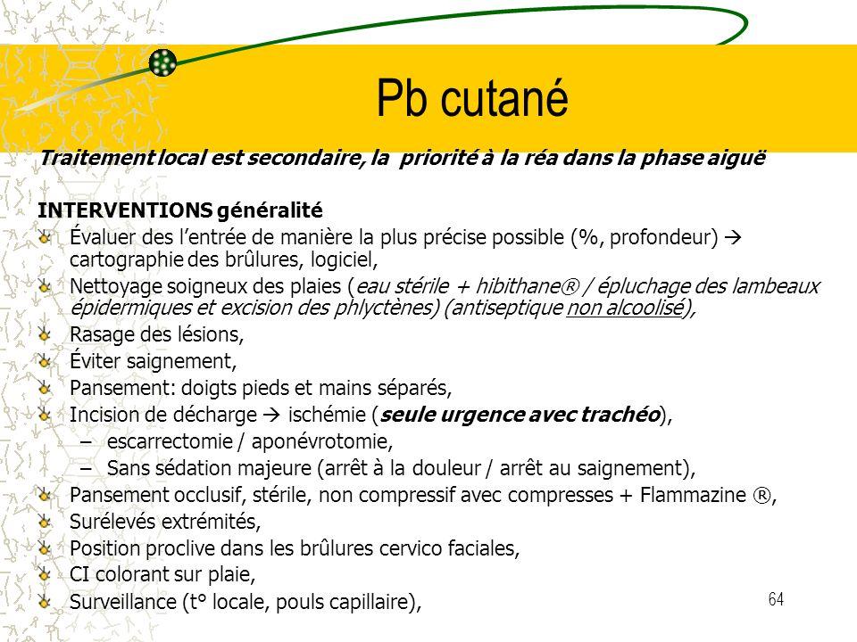 Pb cutané Traitement local est secondaire, la priorité à la réa dans la phase aiguë. INTERVENTIONS généralité.