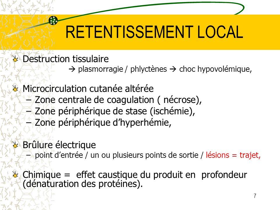 RETENTISSEMENT LOCAL Destruction tissulaire