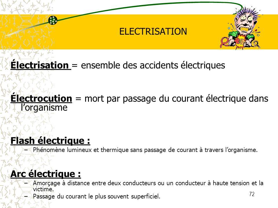 Électrisation = ensemble des accidents électriques