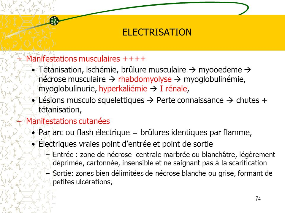 ELECTRISATION Manifestations musculaires ++++