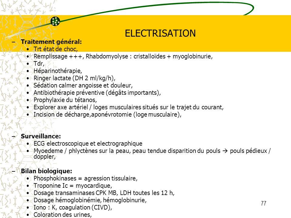 ELECTRISATION Traitement général: Trt état de choc,