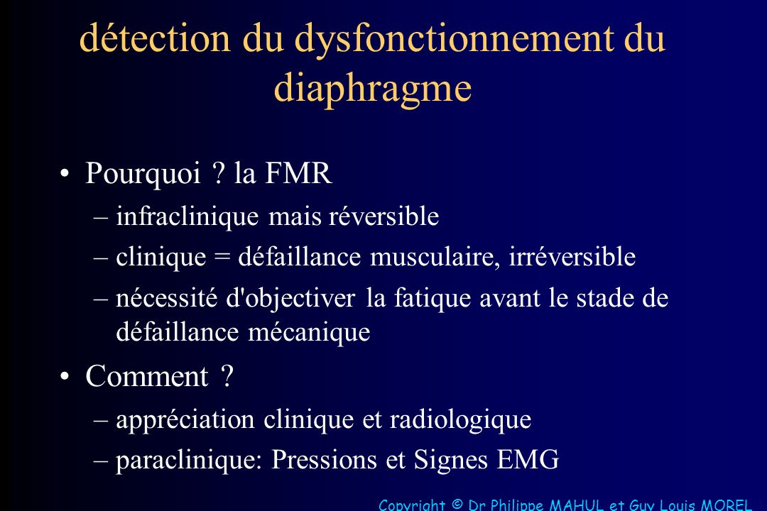 détection du dysfonctionnement du diaphragme