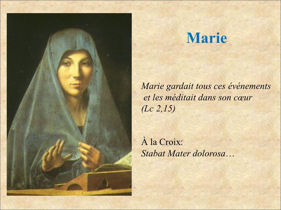 Marie Marie gardait tous ces événements et les méditait dans son cœur (Lc 2,15) À la Croix: Stabat Mater dolorosa…