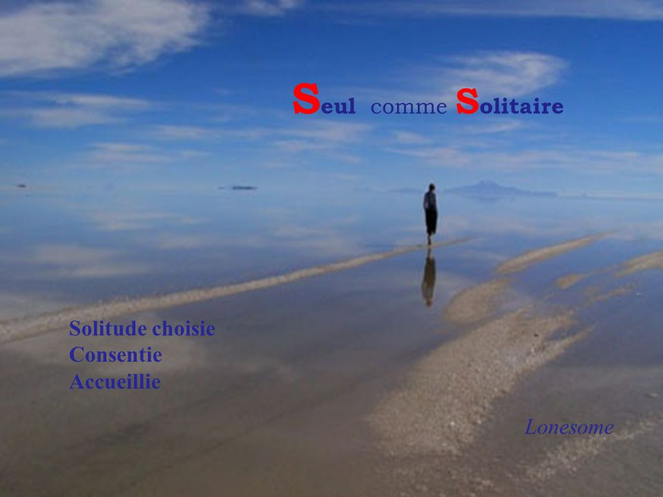 Seul comme Solitaire Solitude choisie Consentie Accueillie Lonesome
