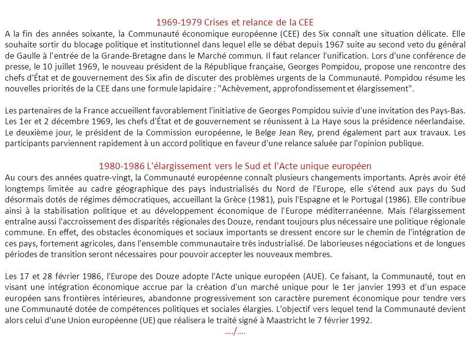 1969-1979 Crises et relance de la CEE