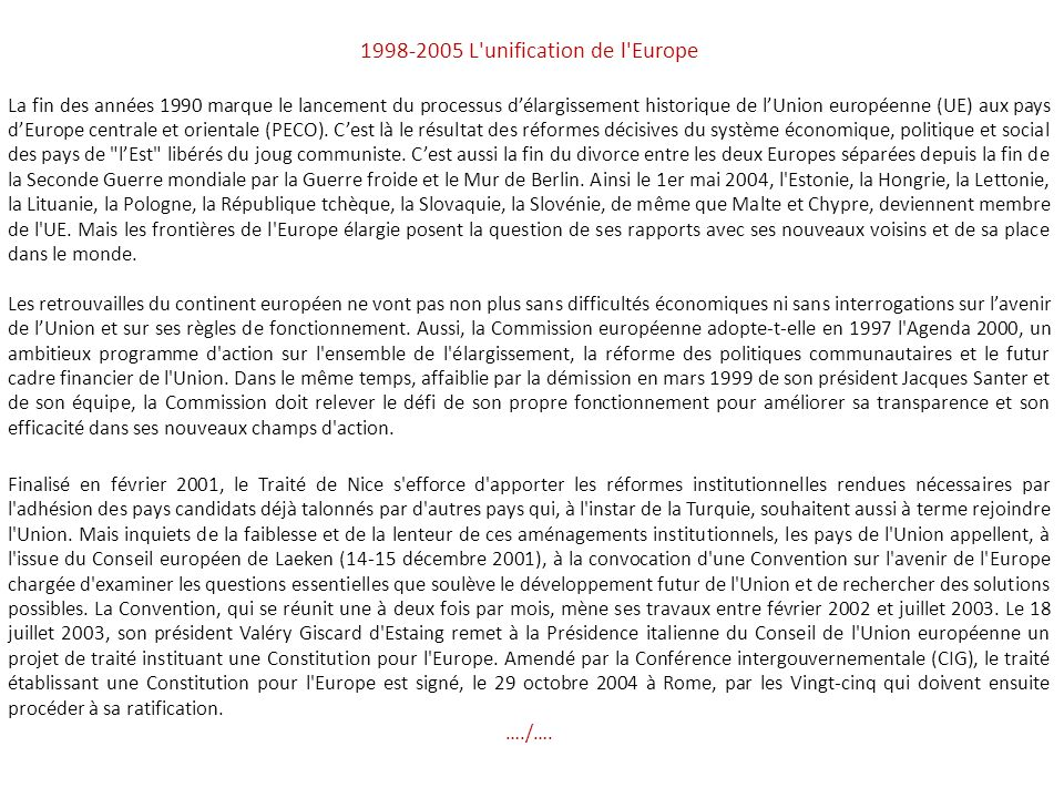 1998-2005 L unification de l Europe