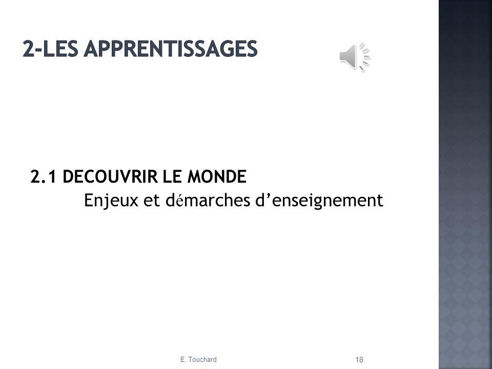 2-Les apprentissages 2.1 DECOUVRIR LE MONDE