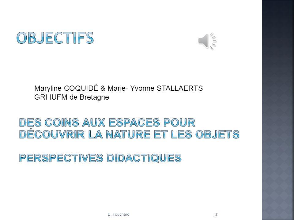 Objectifs Maryline COQUIDÉ & Marie- Yvonne STALLAERTS. GRI IUFM de Bretagne.