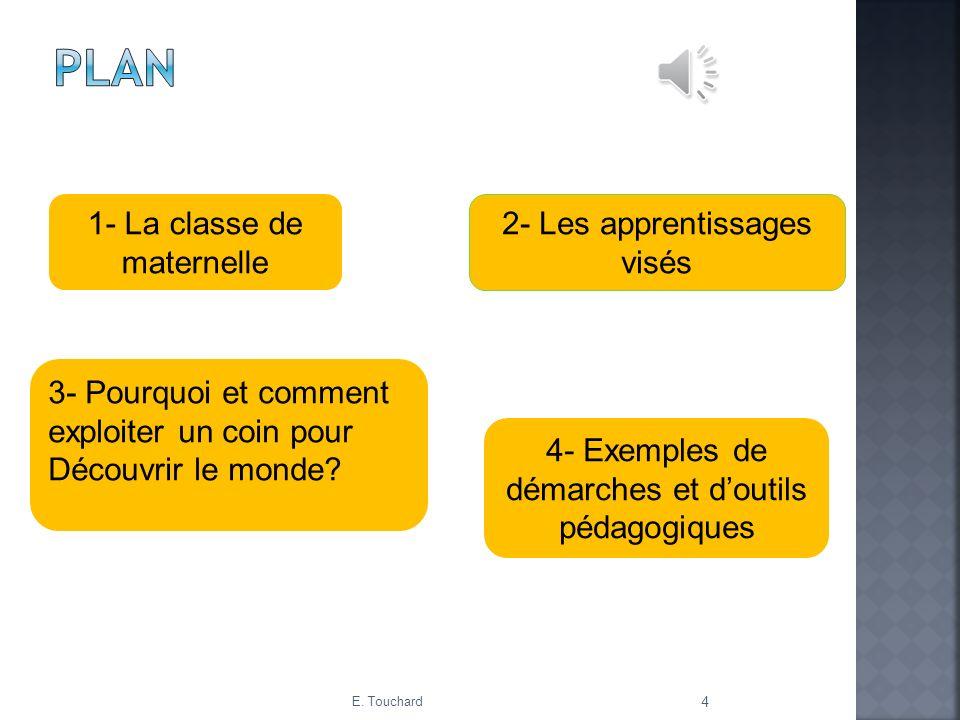 Plan 1- La classe de maternelle 2- Les apprentissages visés