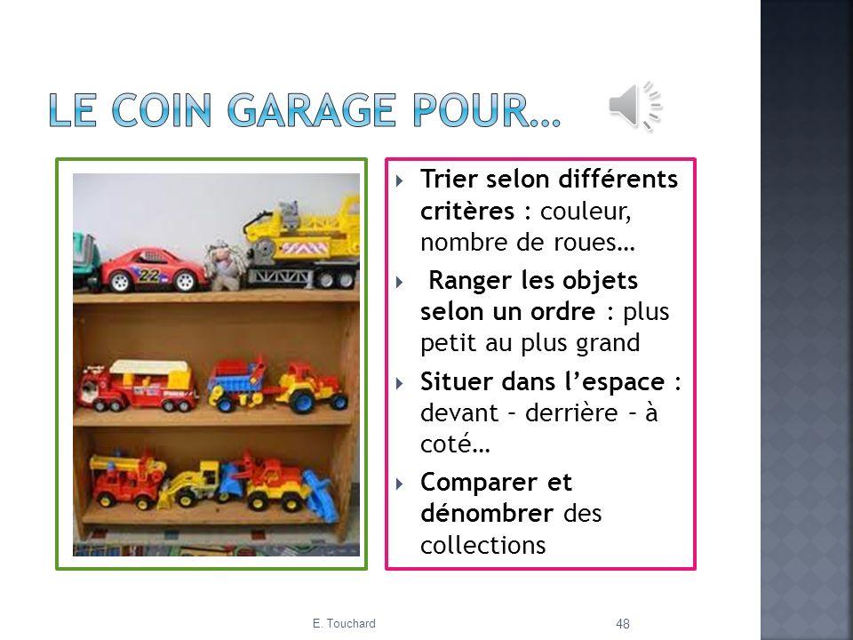 Le coin garage pour… Trier selon différents critères : couleur, nombre de roues… Ranger les objets selon un ordre : plus petit au plus grand.