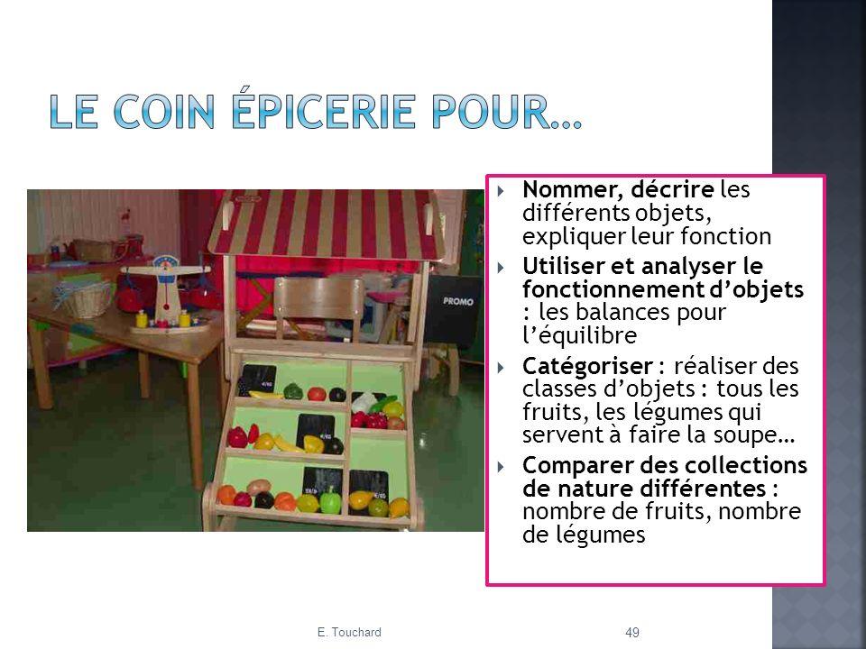 Le coin épicerie pour… Nommer, décrire les différents objets, expliquer leur fonction.